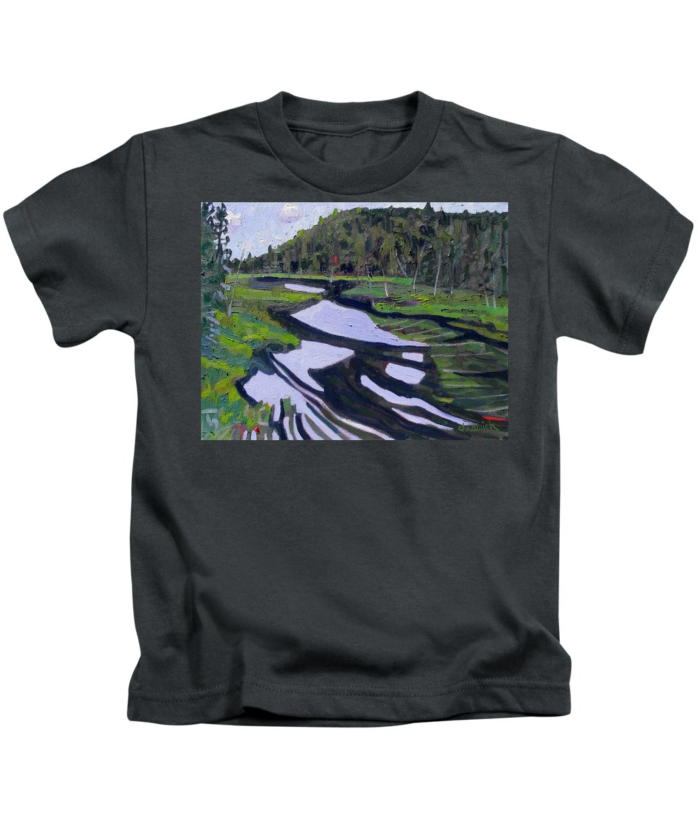Tim Kids T-Shirt featuring the painting Tim River - Algonquin by Phil Chadwick
