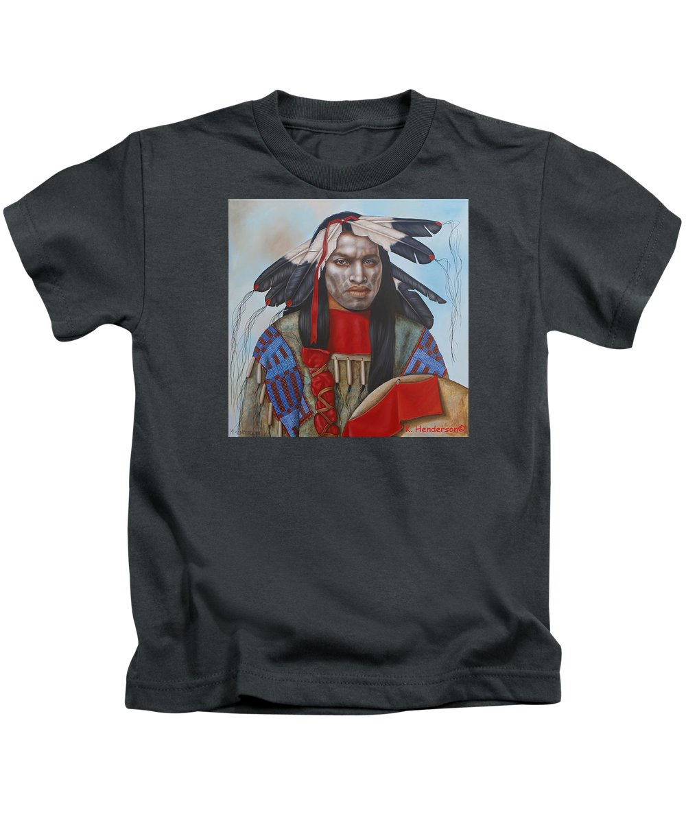 American Indian Kids T-Shirt featuring the painting Time Is At Hand by K Henderson