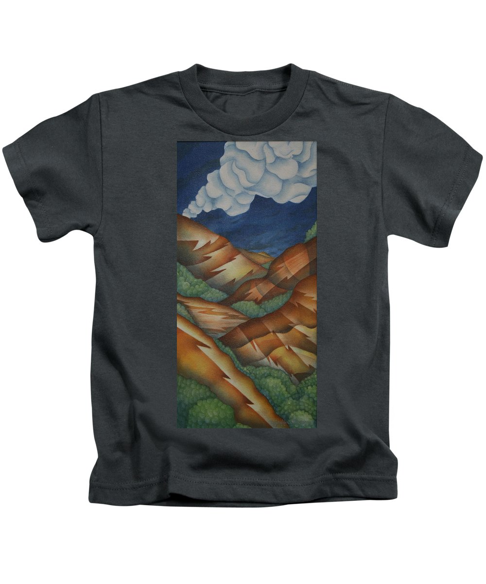 Mountains Kids T-Shirt featuring the painting Time To Seek Shelter by Jeniffer Stapher-Thomas