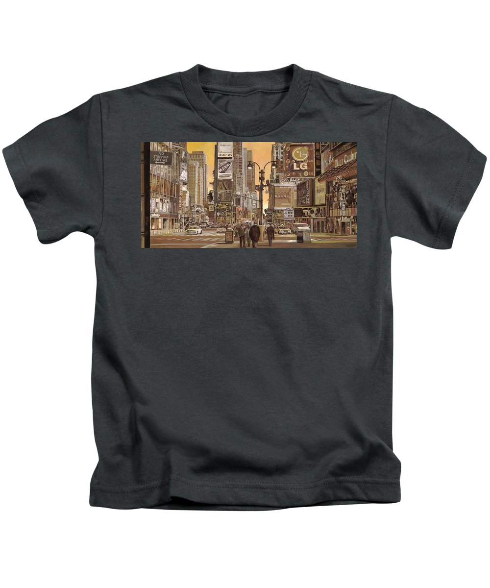 New York Kids T-Shirt featuring the painting Times Square by Guido Borelli