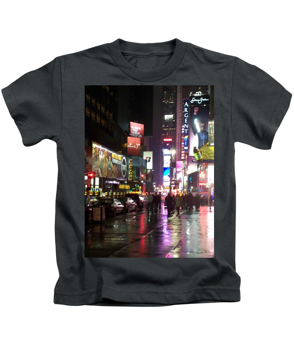 Times Square Kids T-Shirt featuring the photograph Times Square In The Rain 1 by Anita Burgermeister