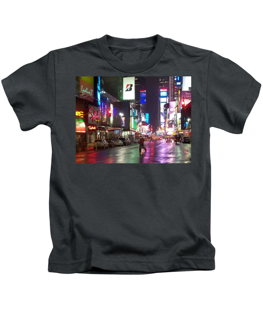 Times Square Kids T-Shirt featuring the photograph Times Square In The Rain 2 by Anita Burgermeister