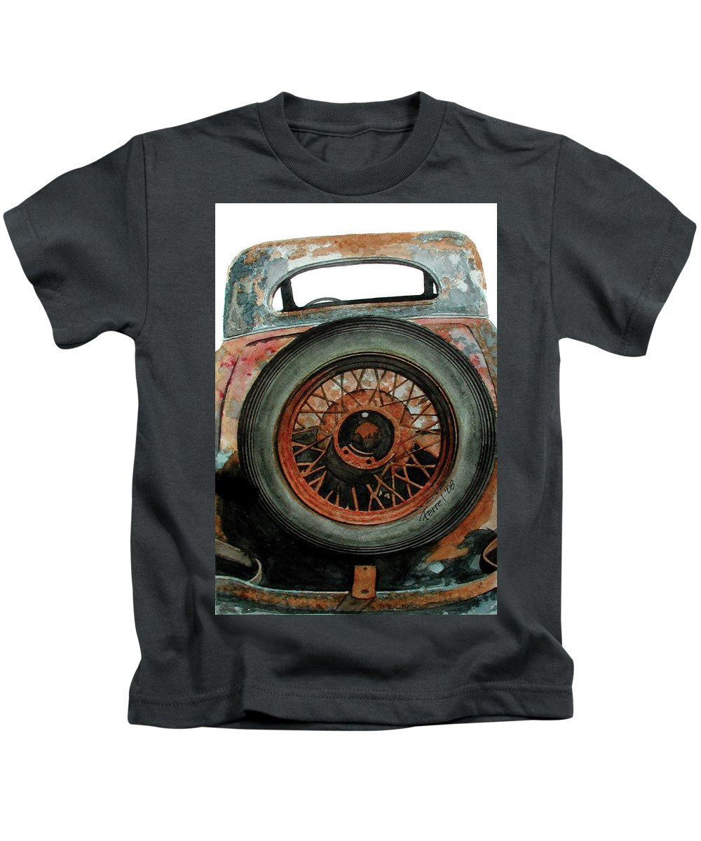Car Kids T-Shirt featuring the painting Tired by Ferrel Cordle