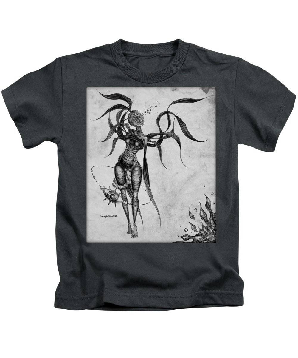 Macabre Kids T-Shirt featuring the drawing Tisari Ankha by Spunky Freakster