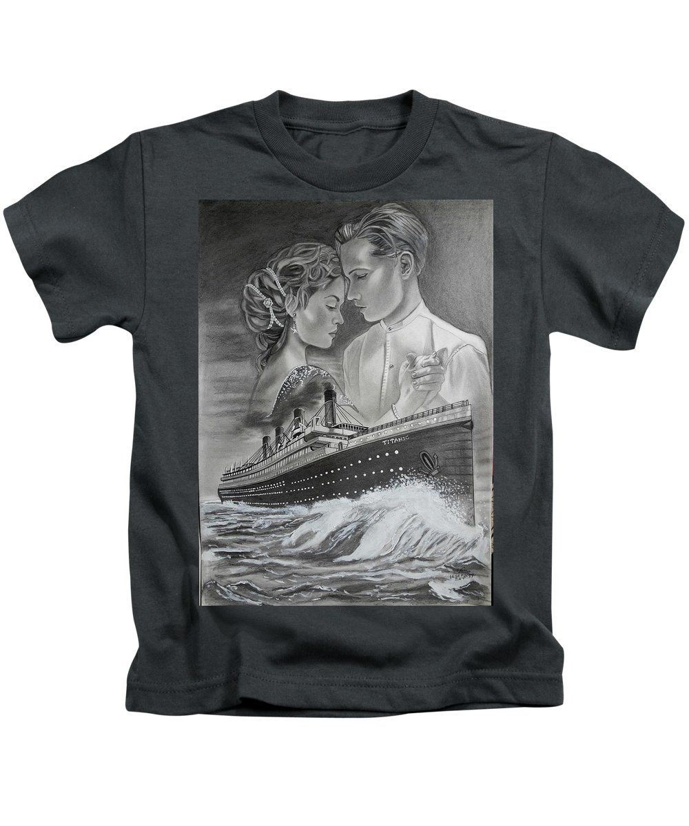 Landscape Kids T-Shirt featuring the drawing Titanic Drawing With Kate And Leonardo by Vimal Chand