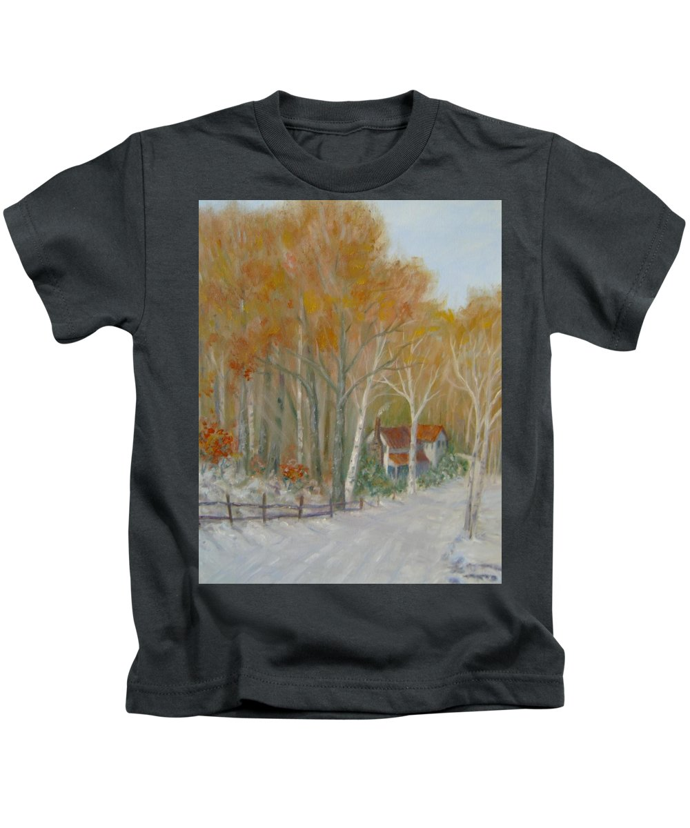 Country Road; House; Snow Kids T-Shirt featuring the painting To Grandma's House by Ben Kiger