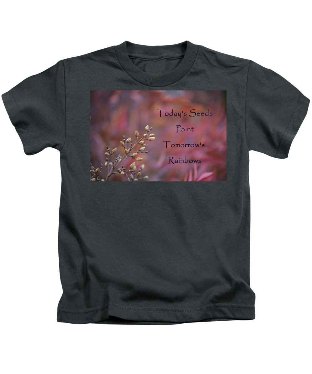Red Kids T-Shirt featuring the photograph Todays Seeds Paint Tomorrows Rainbows by Mark Bell