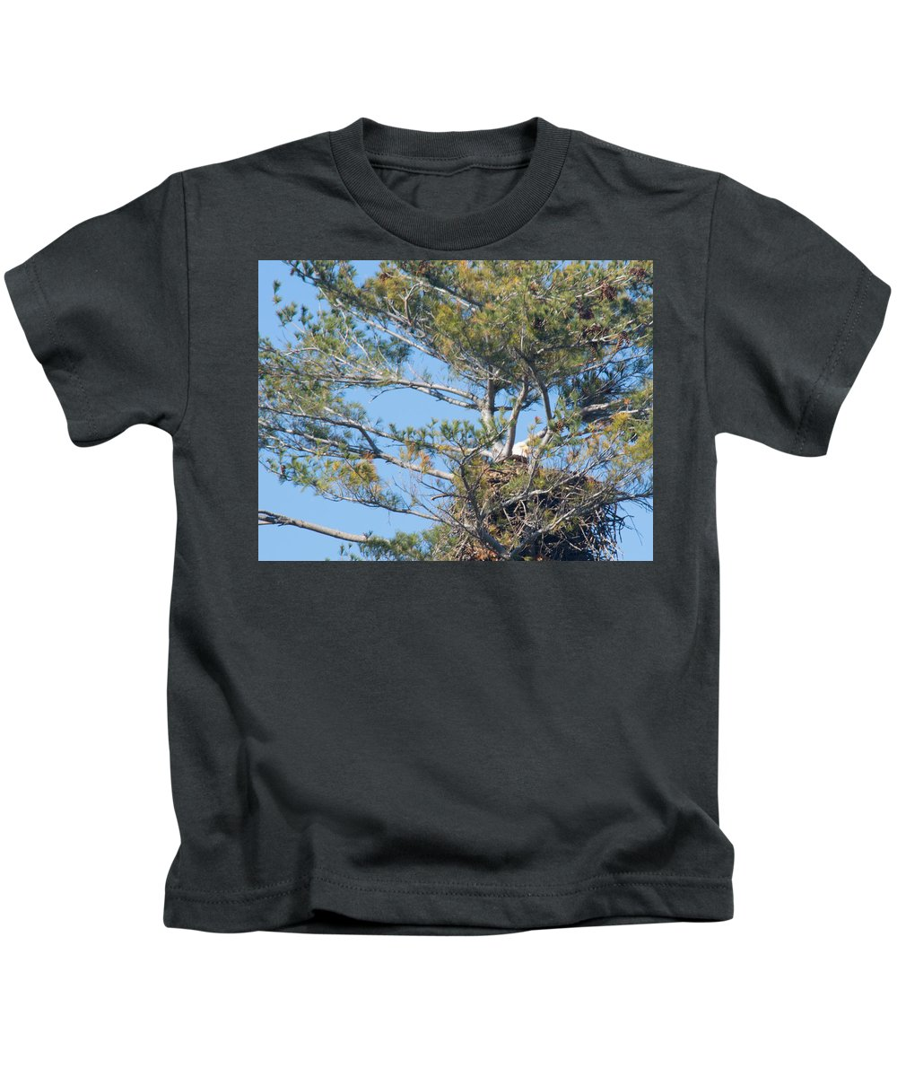 Bald Eagle Kids T-Shirt featuring the photograph Top Of The Pine by Linda Kerkau