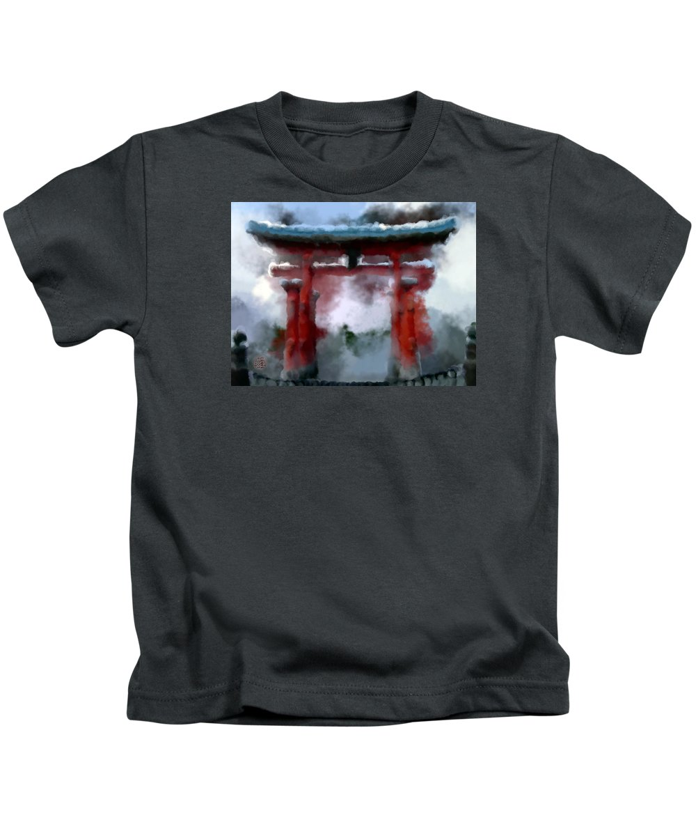 Torii Kids T-Shirt featuring the painting Torii by Geoffrey Lewis