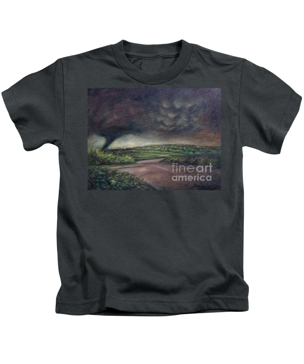 Tornado Kids T-Shirt featuring the painting Millsfield Tennessee Tornado From My Backdoor by Randy Burns