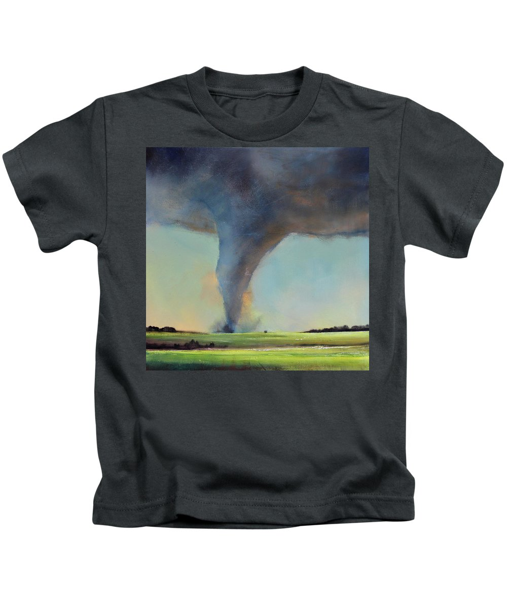 Tornado Kids T-Shirt featuring the painting Tornado Touchdown by Toni Grote