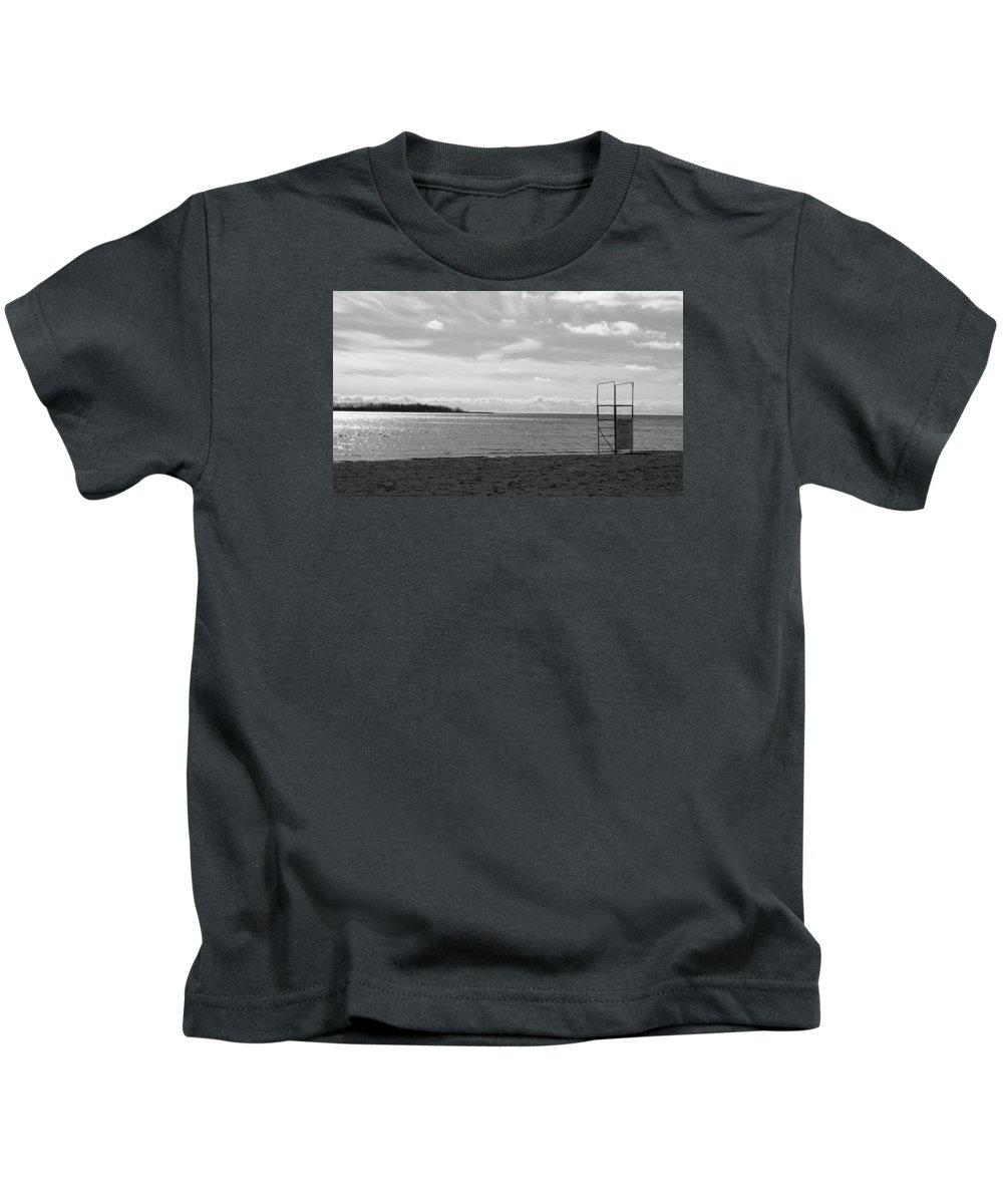 February Kids T-Shirt featuring the photograph Toronto Winter Beach by Valentino Visentini