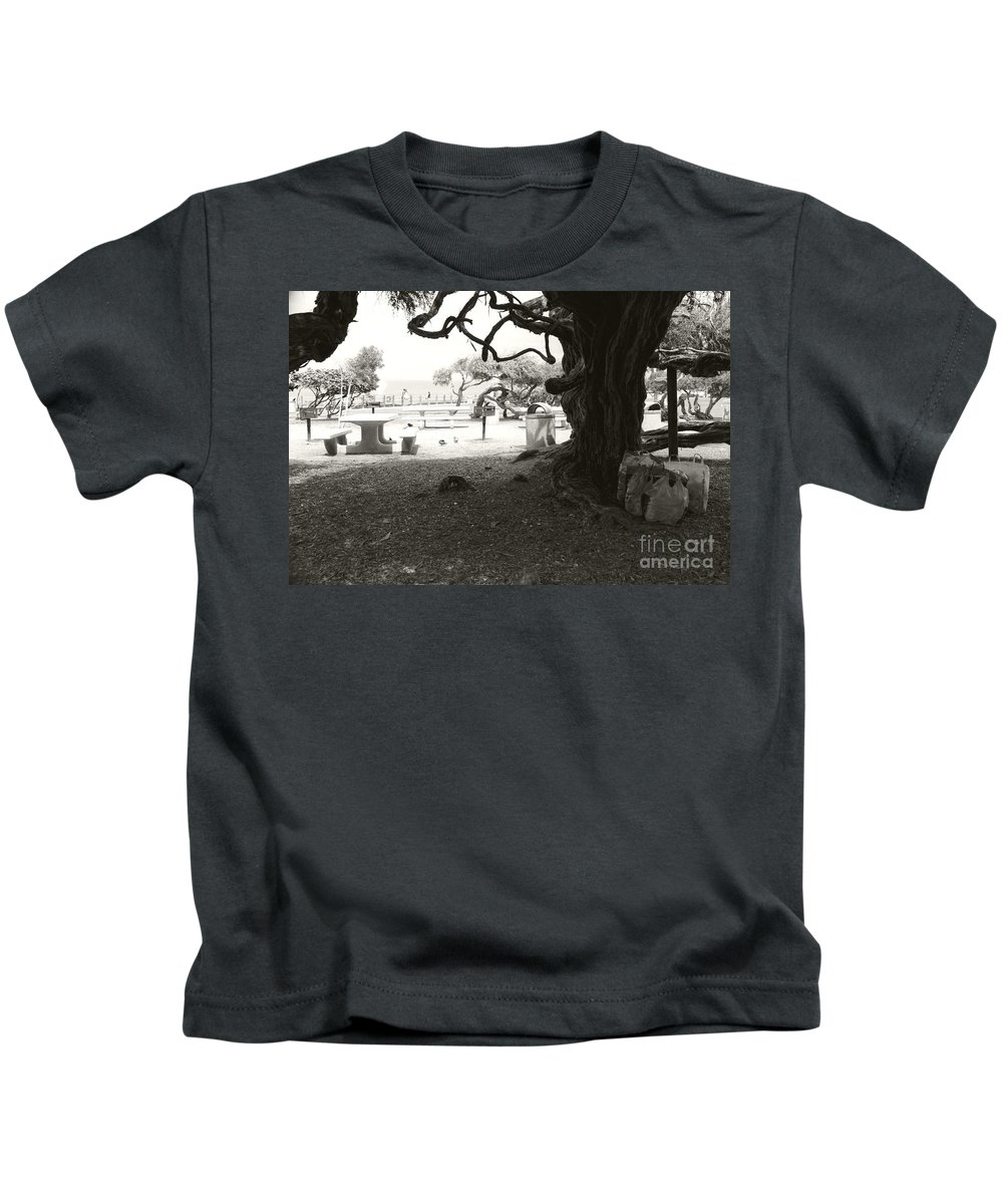 La Jolla Kids T-Shirt featuring the photograph Torrey Pines Baggage Claim by Heather Kirk