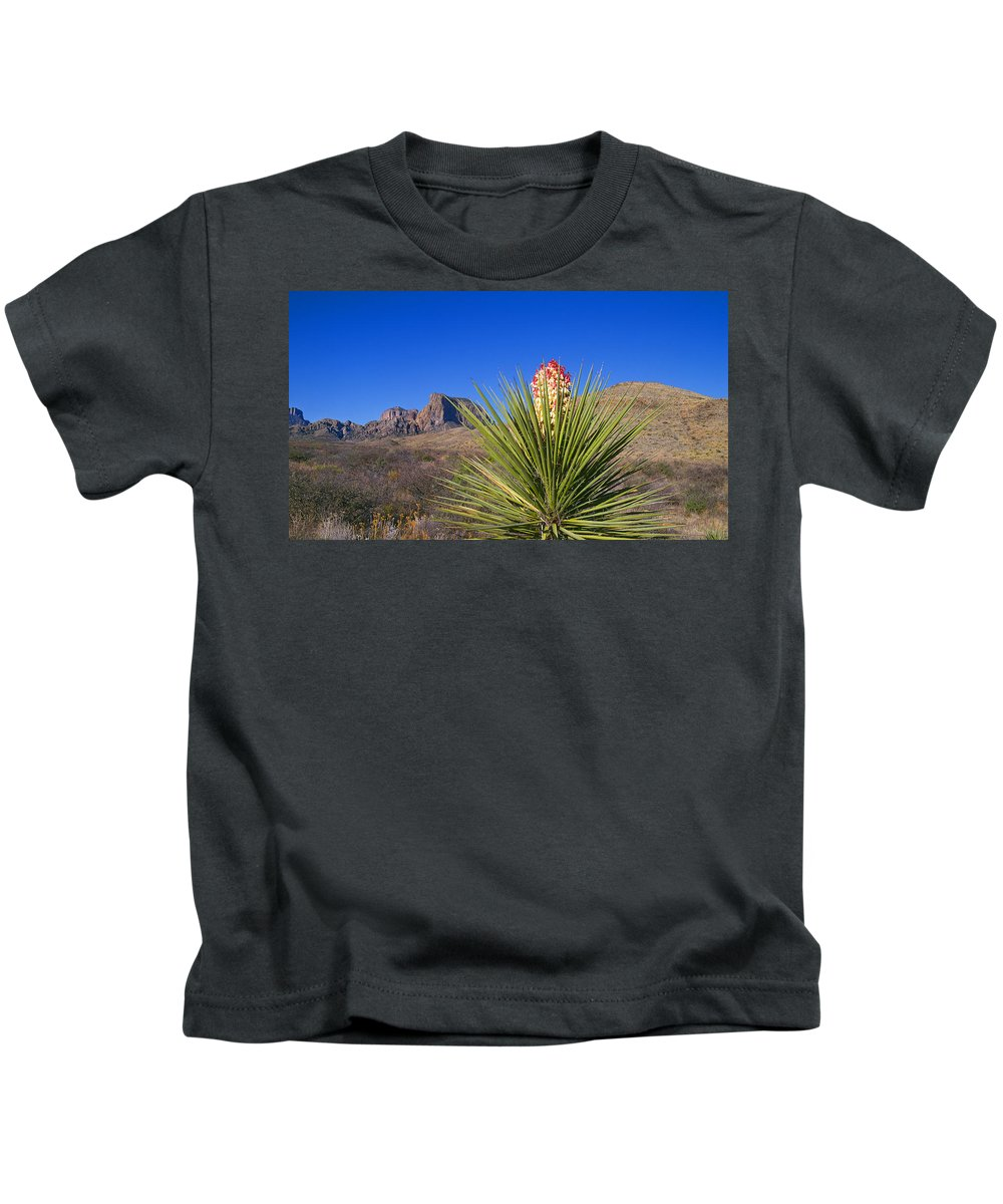 Chisos Mountains Kids T-Shirt featuring the photograph Torrey Yucca by Buddy Mays