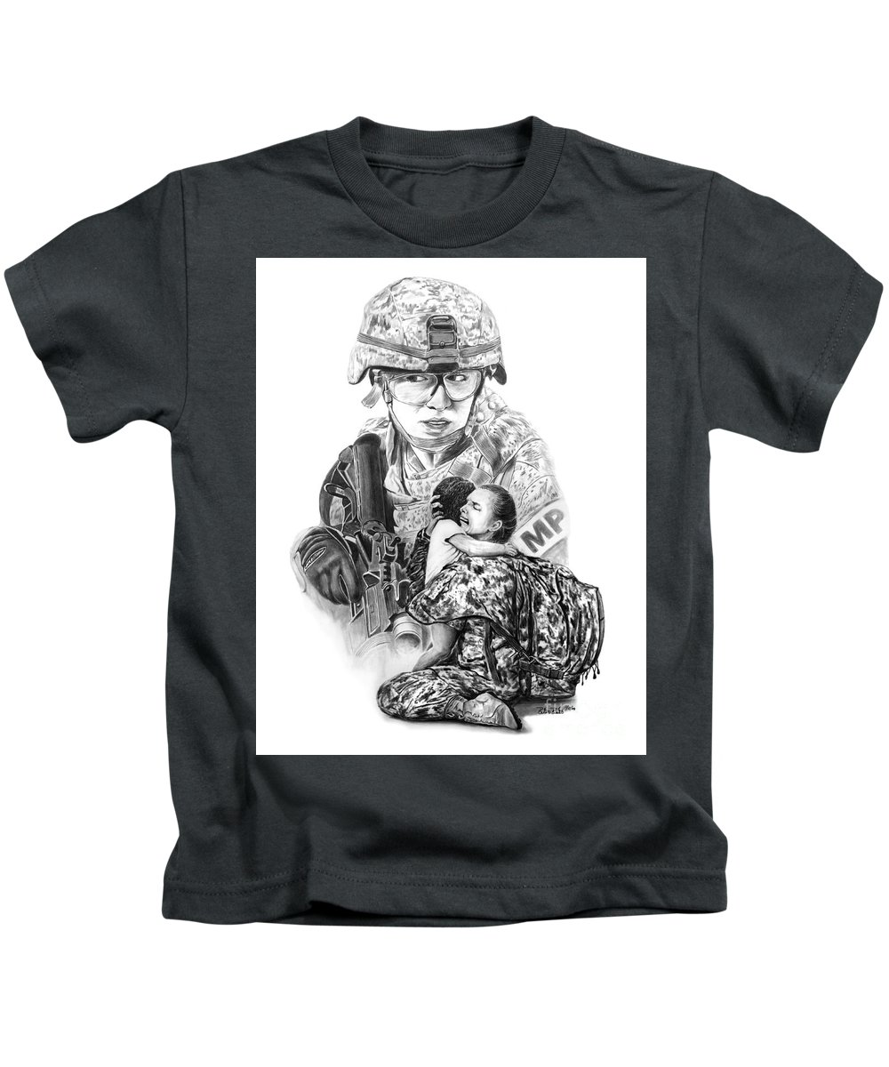Tour Of Duty - Women In Combat Kids T-Shirt featuring the drawing Tour Of Duty - Women In Combat Le by Peter Piatt