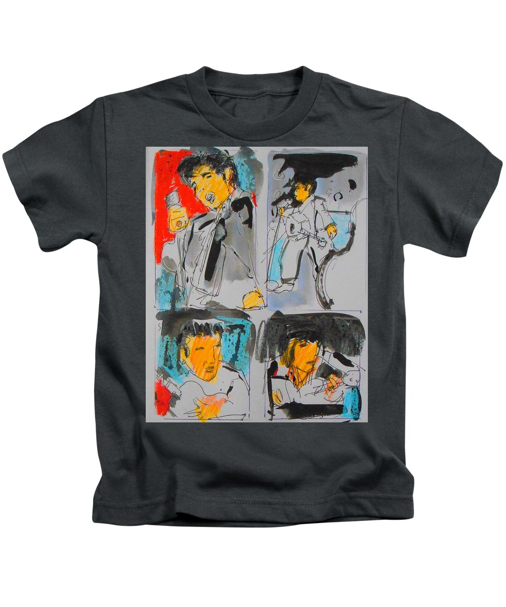 Elvis Kids T-Shirt featuring the painting Tour by Samuel Zylstra
