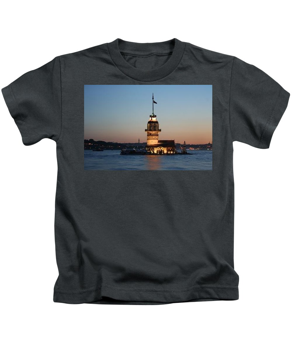 Kids T-Shirt featuring the painting Tower Of Leander by Yesim Tetik