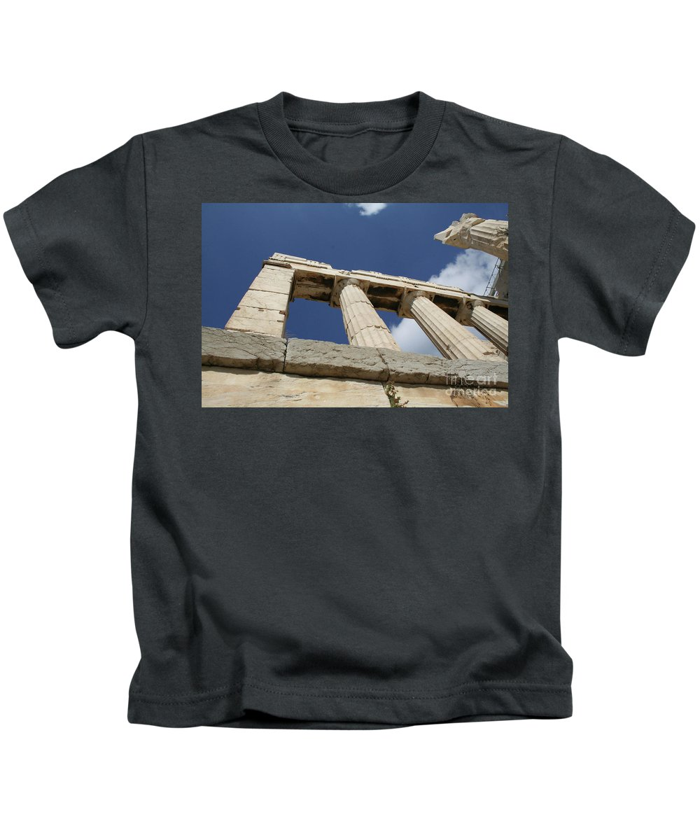 Greece Kids T-Shirt featuring the photograph Towering Grecian Pillars by Mary Kay Bellinger