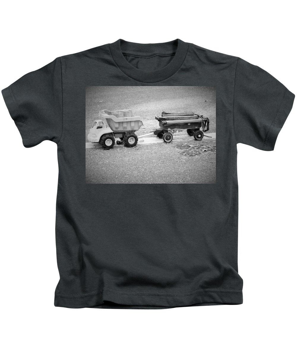 Toy Kids T-Shirt featuring the photograph Toy Truck In Black And White by Sarah Barba