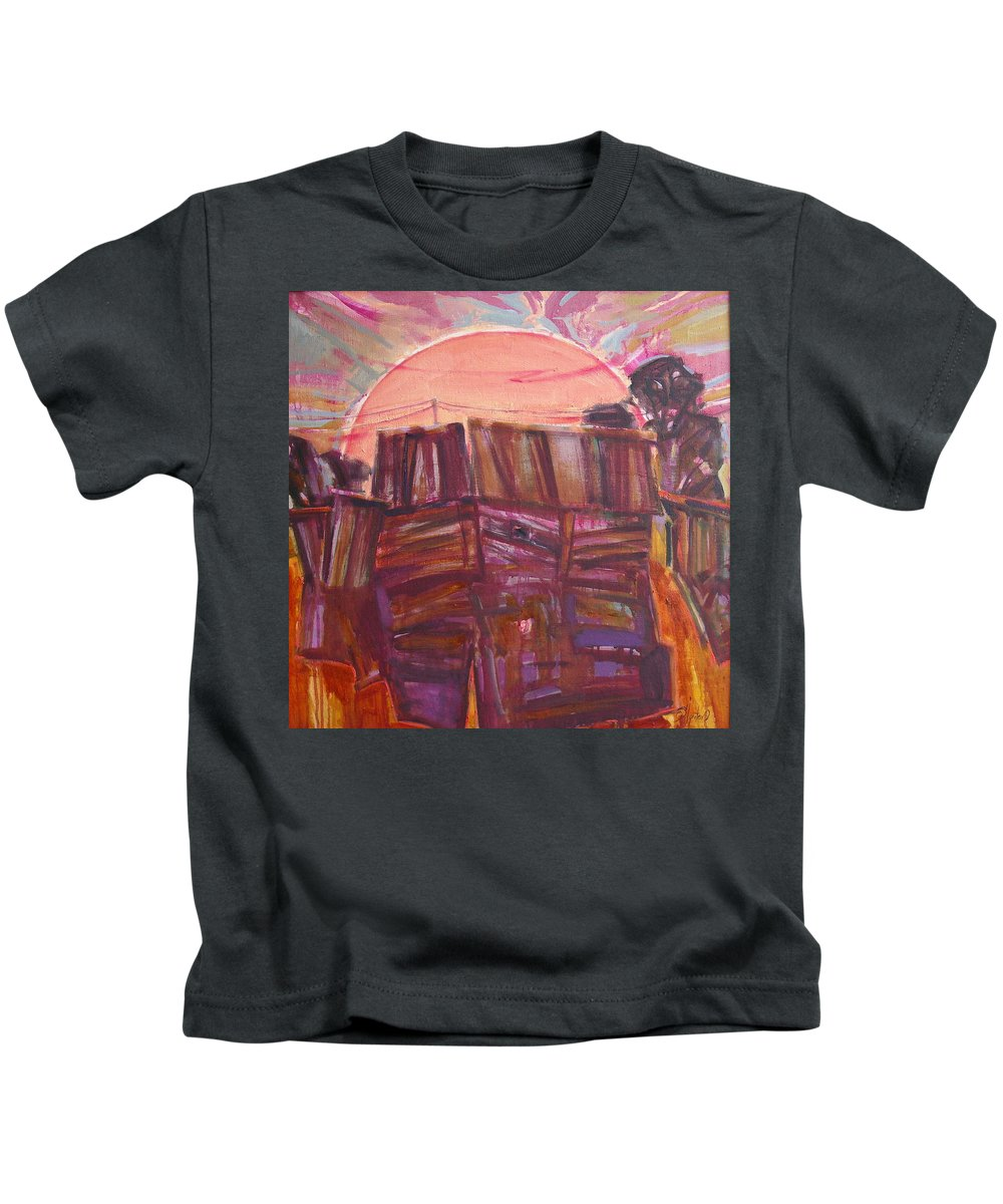 Oil Kids T-Shirt featuring the painting Tracks by Sergey Ignatenko