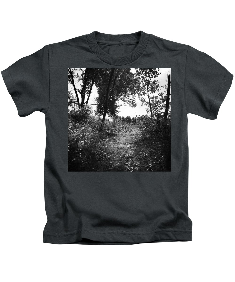 Walking Kids T-Shirt featuring the pyrography Trail by Shelby Berry