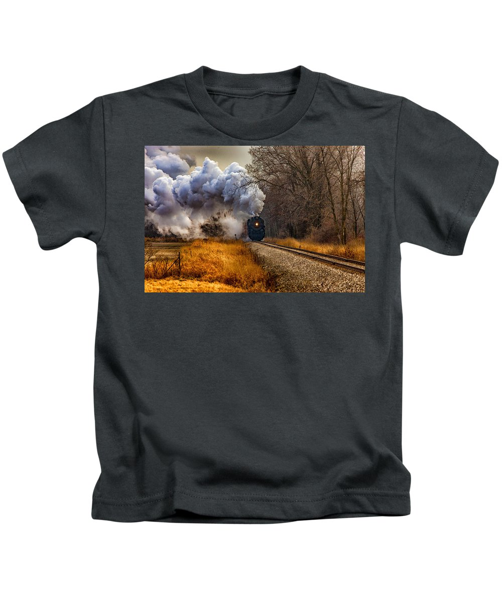 Train Kids T-Shirt featuring the digital art Train by Dorothy Binder