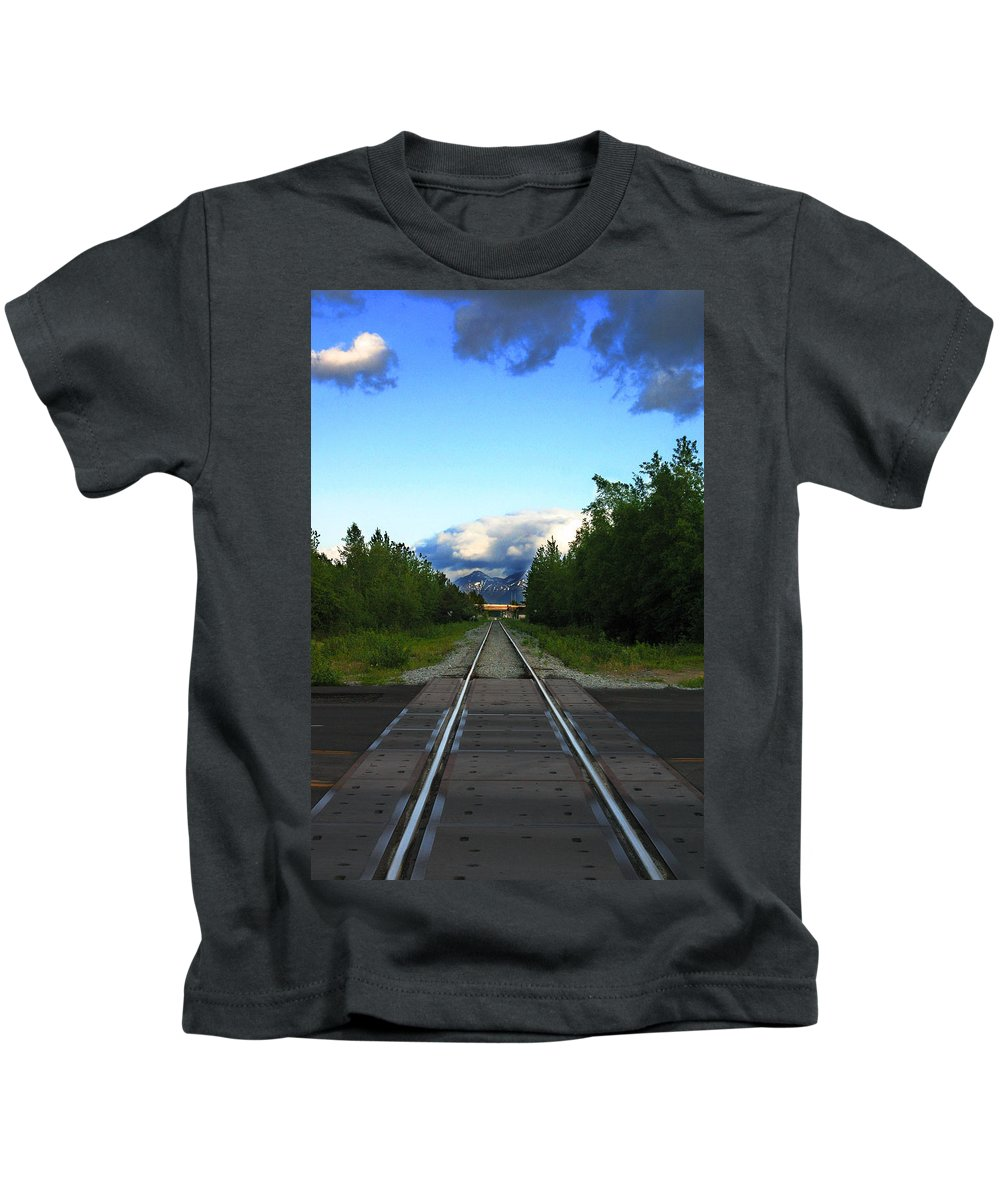 Train Kids T-Shirt featuring the photograph Train Tracks Anchorage Alaska by Anthony Jones