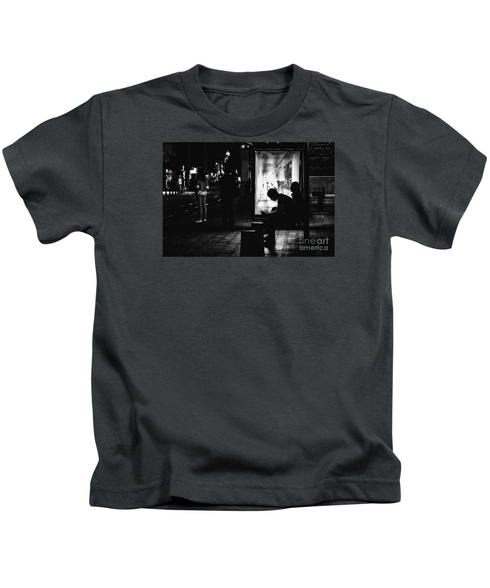 Bulgaria Kids T-Shirt featuring the photograph Tram Station Silhouettes by Jivko Nakev