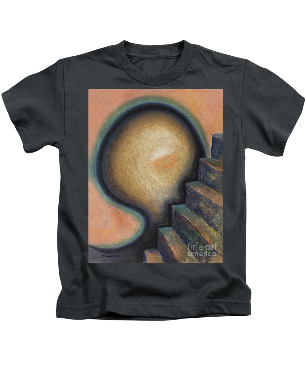 Stairs Kids T-Shirt featuring the painting Transcendence by Mini Arora