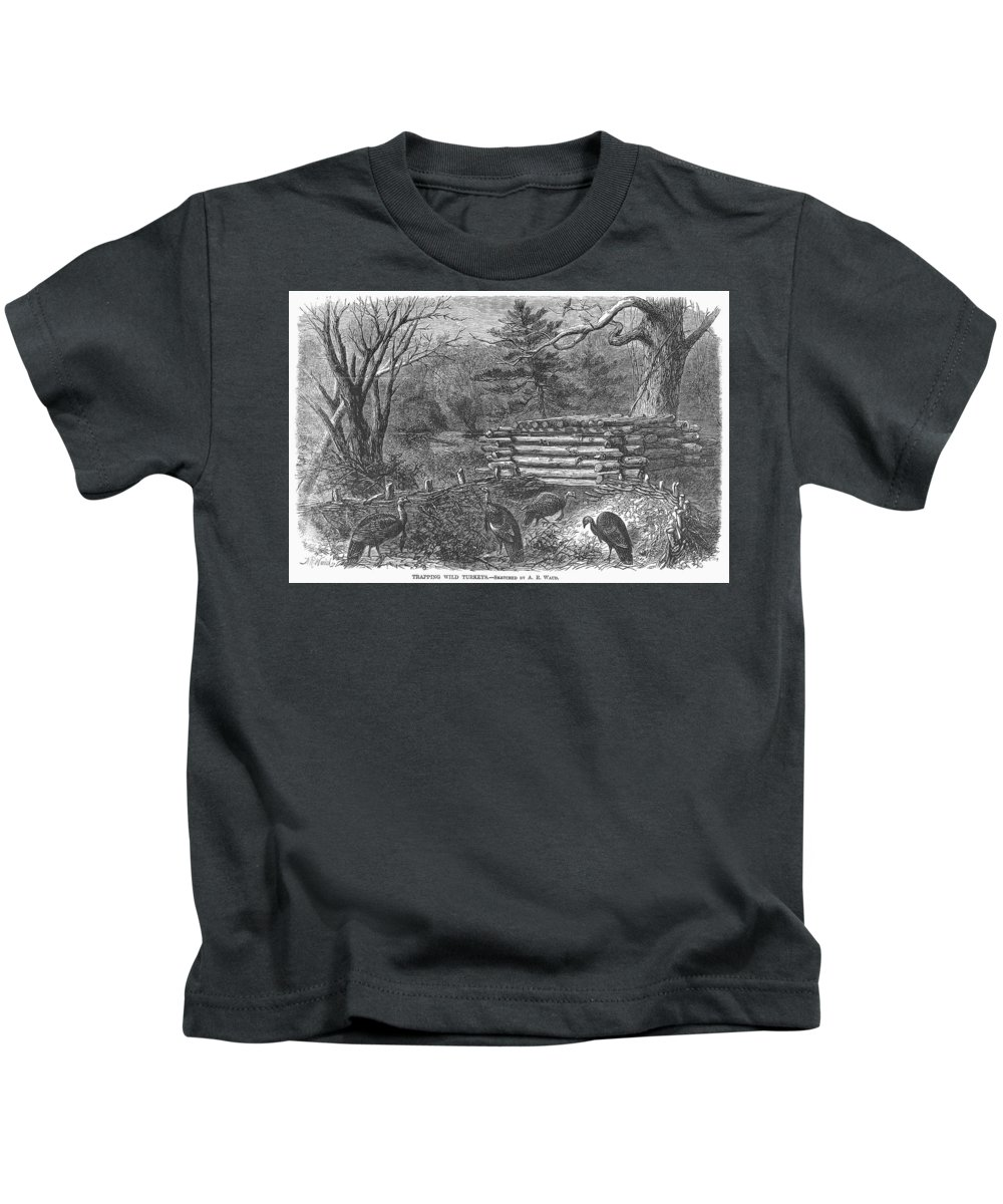 1868 Kids T-Shirt featuring the photograph Trapping Wild Turkeys, 1868 by Granger
