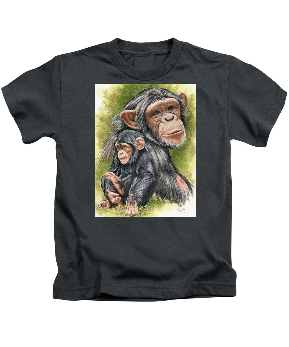Chimpanzee Kids T-Shirt featuring the mixed media Treasure by Barbara Keith