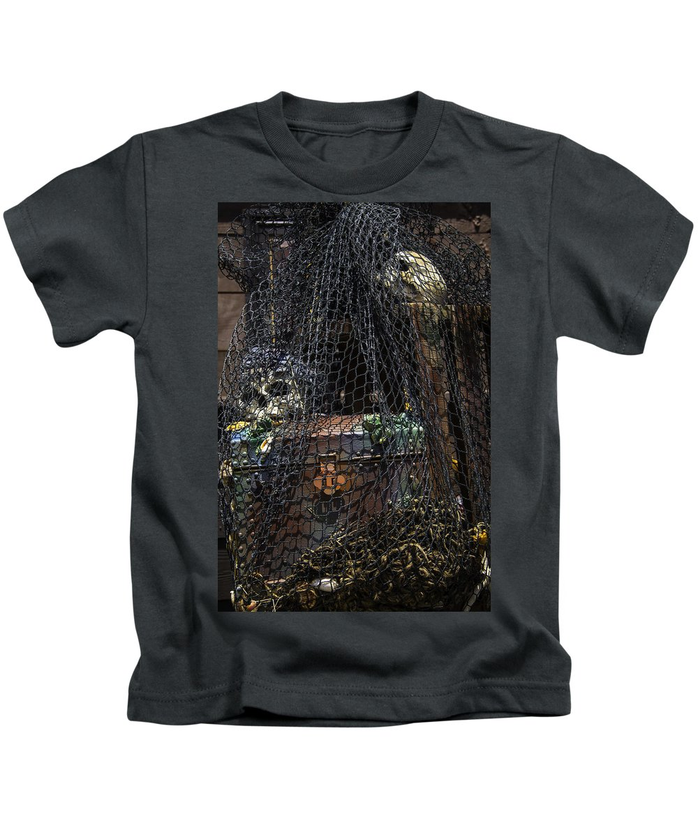 Treasure Kids T-Shirt featuring the photograph Treasure Chest In Net by Garry Gay