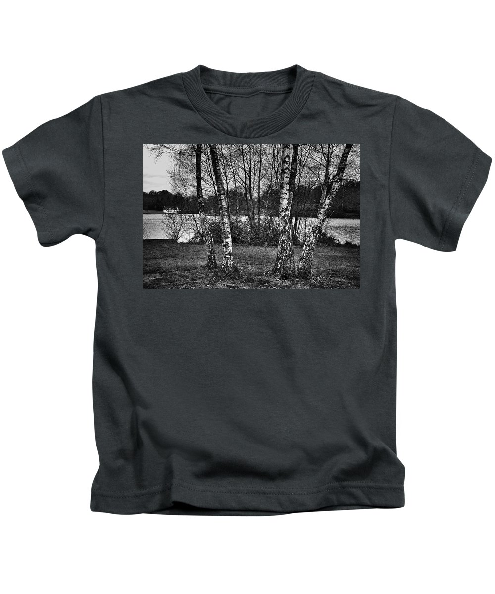 Virginia Water Kids T-Shirt featuring the photograph Tree Quartet And The Lake by David Resnikoff