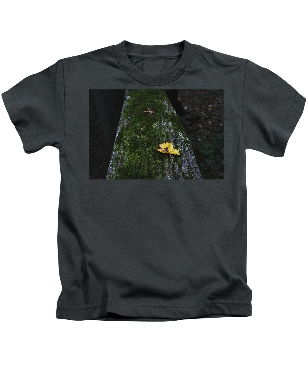 Yellow Kids T-Shirt featuring the photograph Tree With Yellow Leaf by Hunter Kotlinski