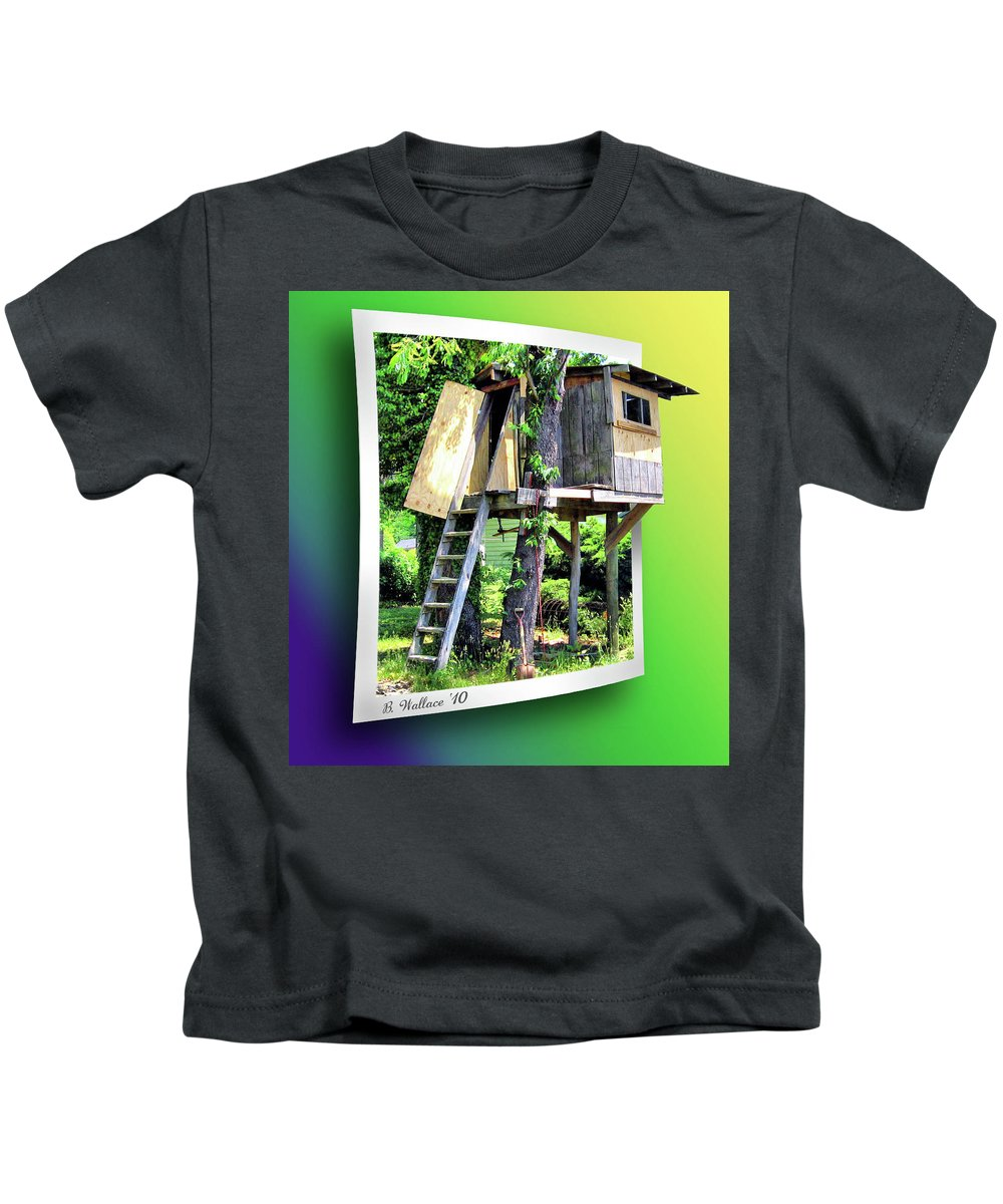2d Kids T-Shirt featuring the photograph Treehouse Fort by Brian Wallace