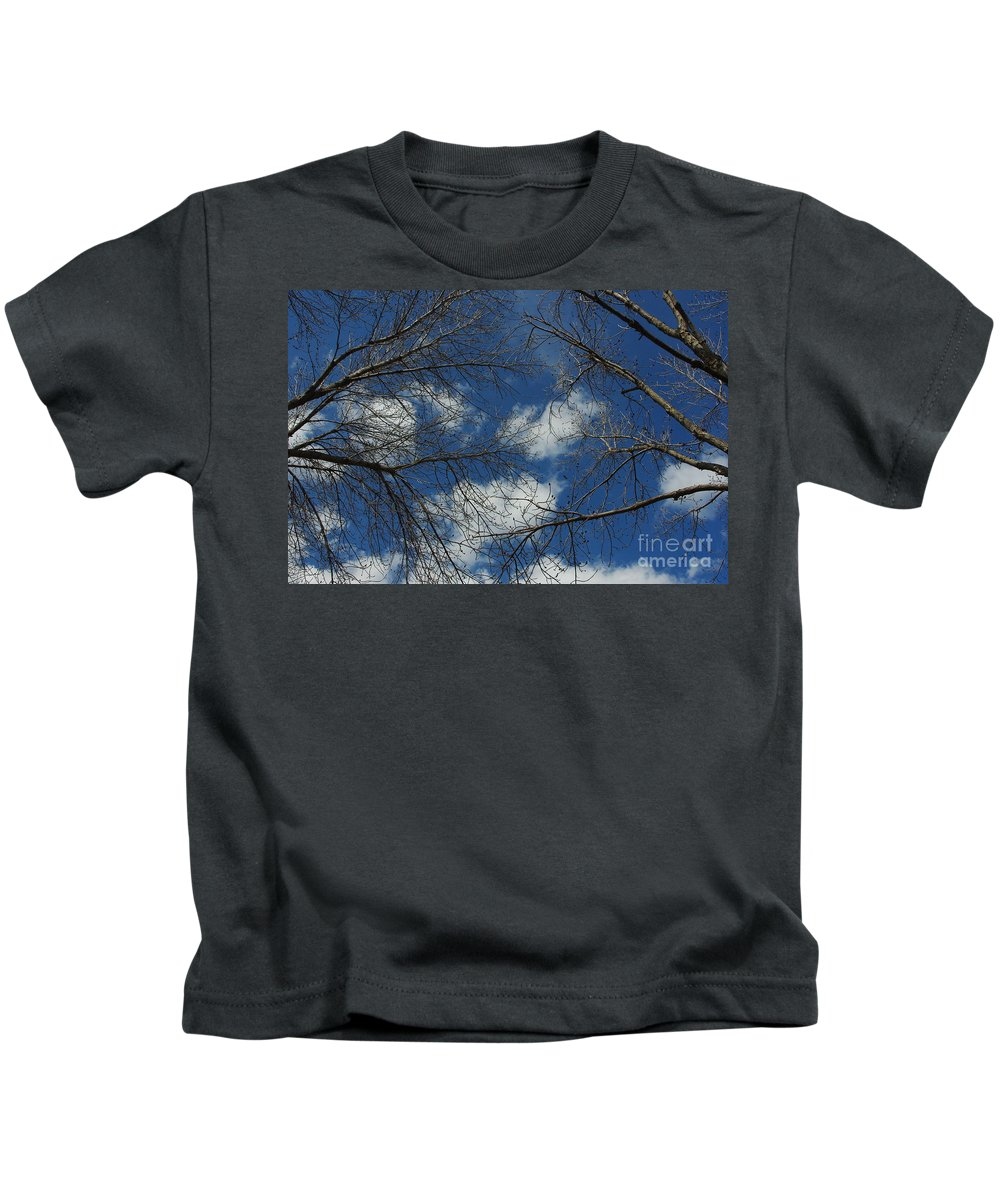 Trees Kids T-Shirt featuring the photograph Trees In The Spring With Clouds by Alice Markham