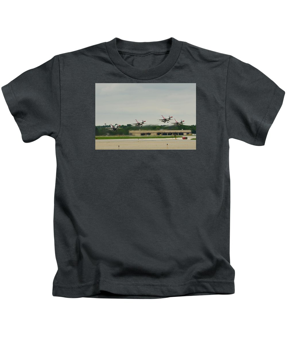 Jets Kids T-Shirt featuring the photograph Triangle Take-off by Robert Coffey