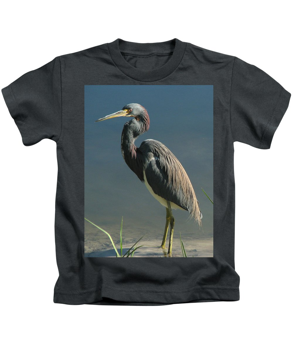 Nature Kids T-Shirt featuring the photograph Tricolored Heron by Peg Urban