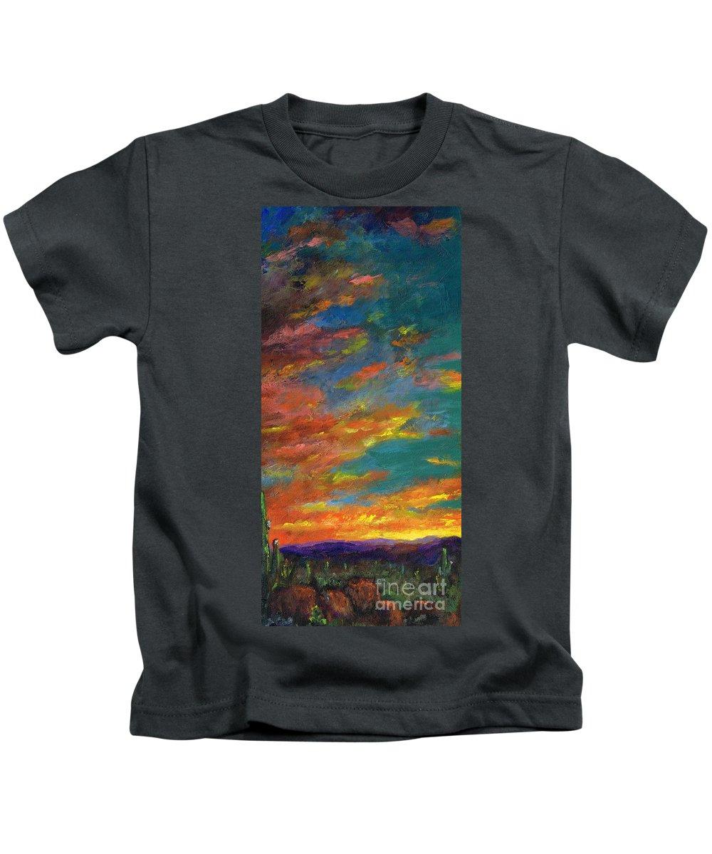 Desert Kids T-Shirt featuring the painting Triptych 1 Desert Sunset by Frances Marino