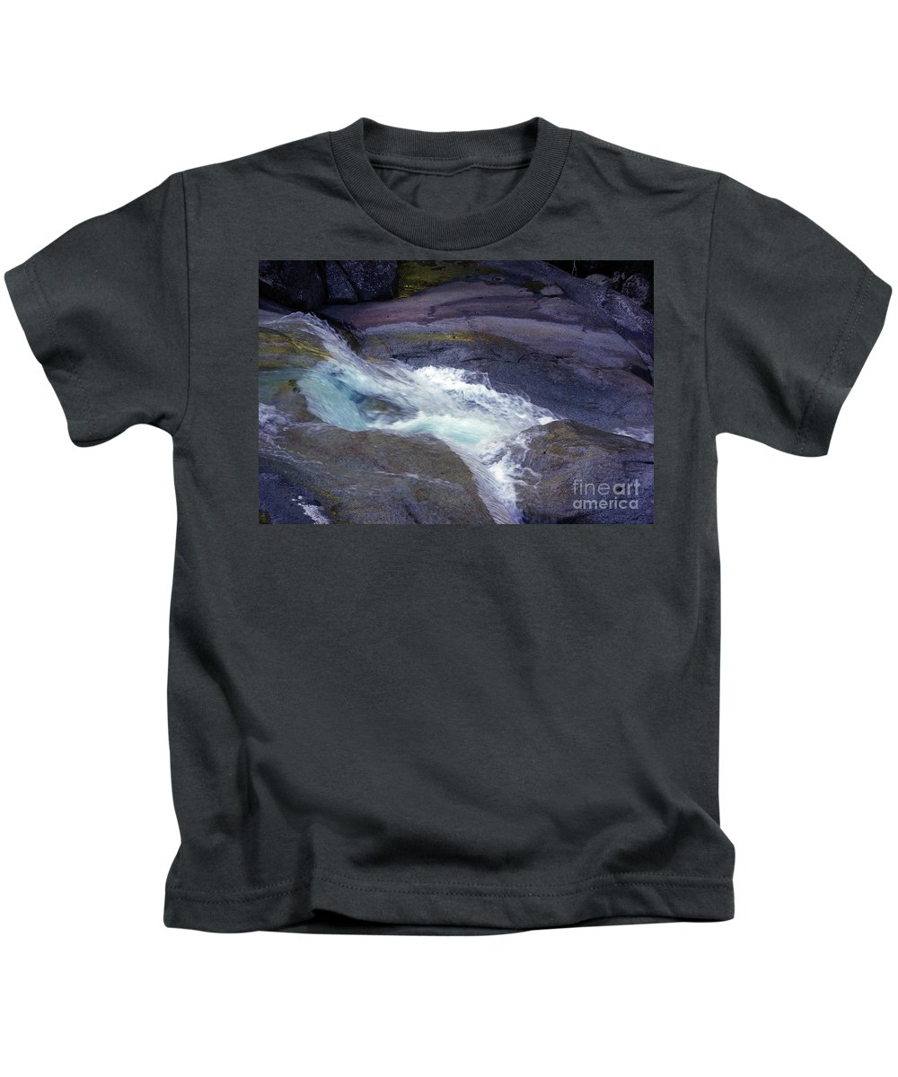 Flowing Kids T-Shirt featuring the photograph Tropical Water Bird Josephine Falls by Kerryn Madsen- Pietsch