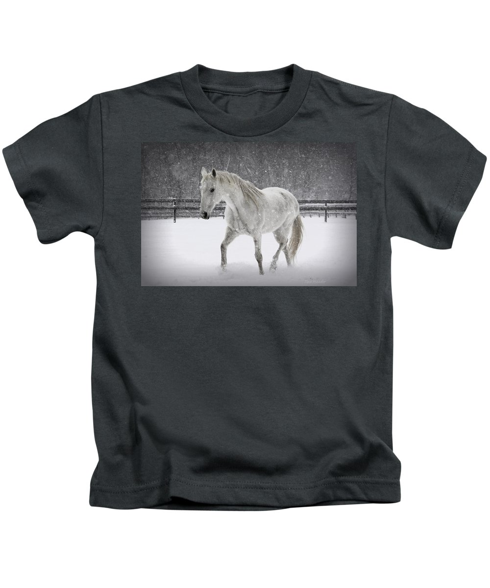Horse Kids T-Shirt featuring the photograph Trot In The Snow by Tina Meador