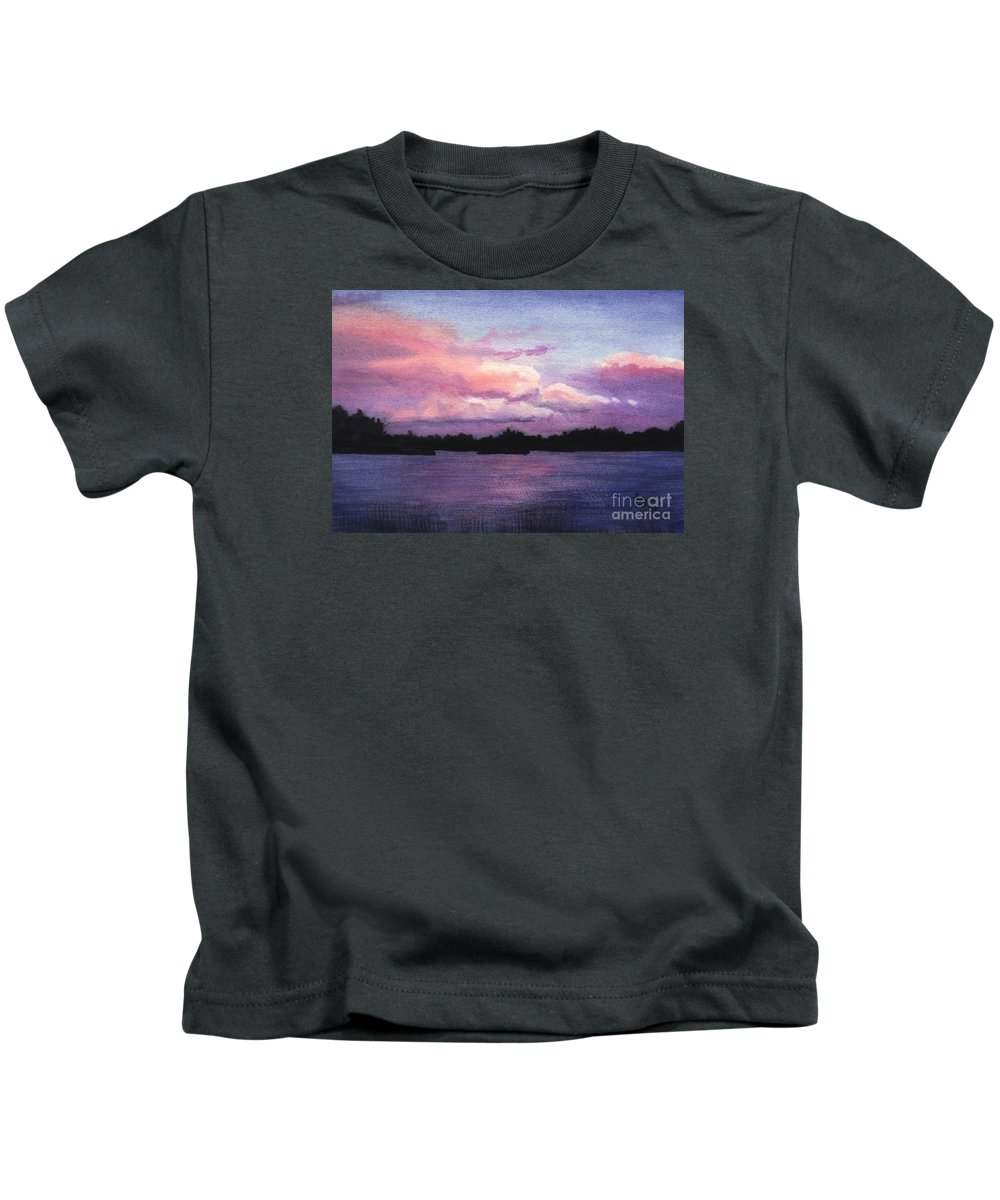 Landscape Kids T-Shirt featuring the painting Trout Lake Sunset I by Lynn Quinn