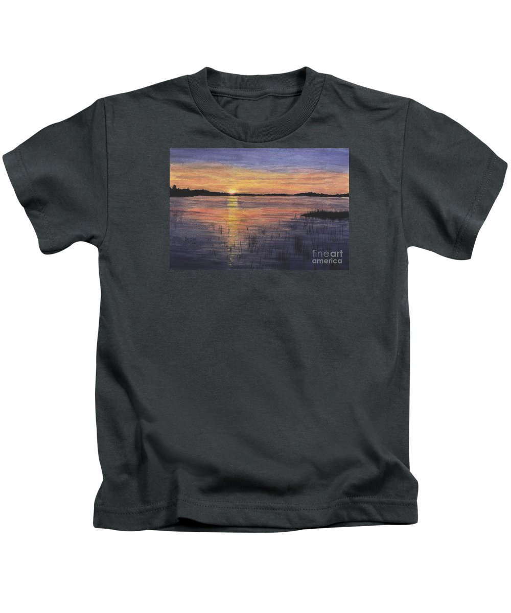 Landscape Kids T-Shirt featuring the painting Trout Lake Sunset II by Lynn Quinn