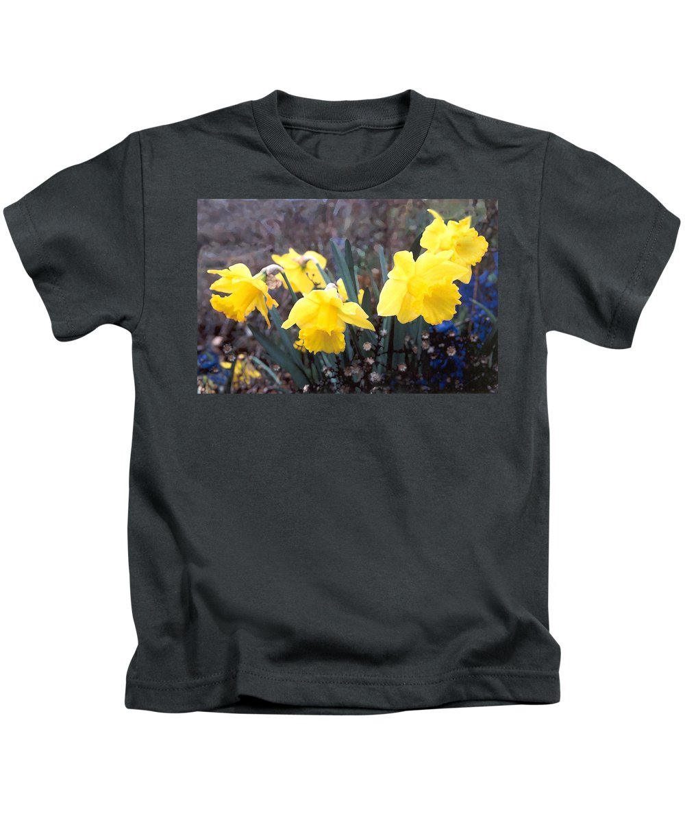 Flowes Kids T-Shirt featuring the photograph Trumpets Of Spring by Steve Karol