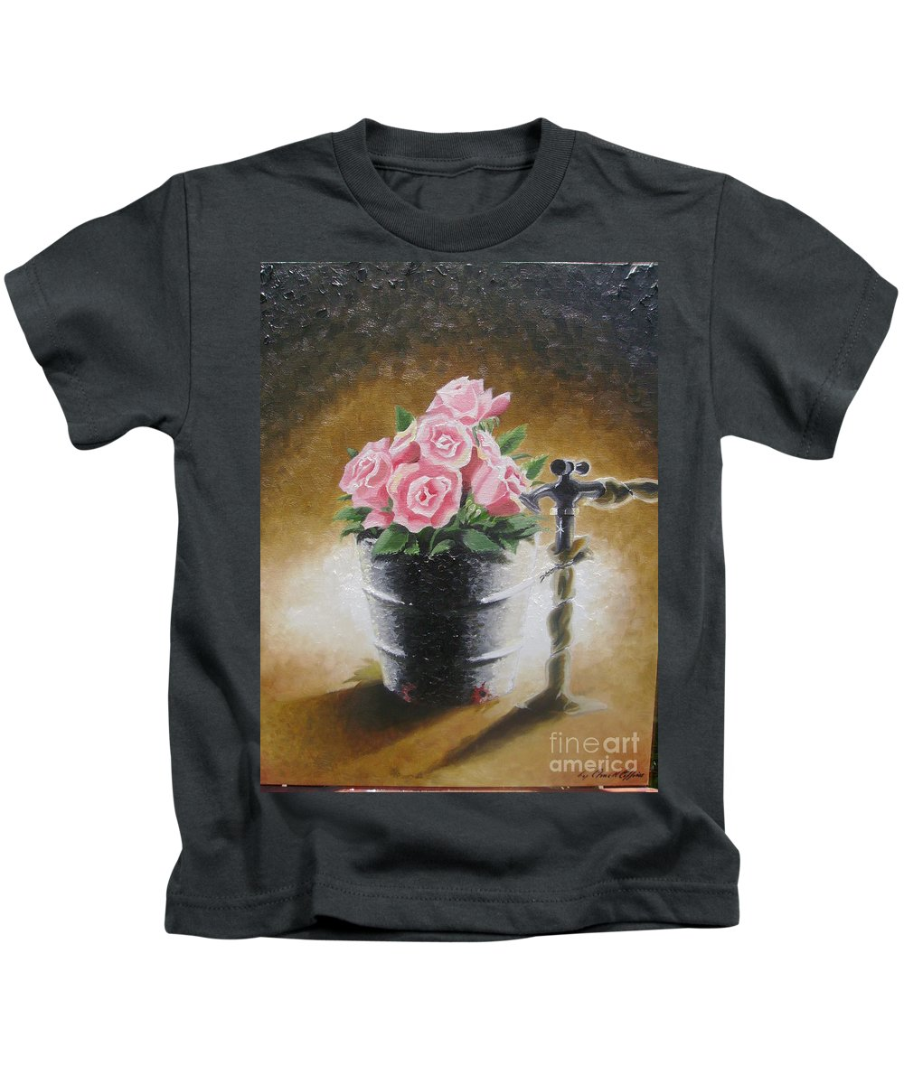 Flowers Kids T-Shirt featuring the painting Tub Of Roses by Chuck Collins