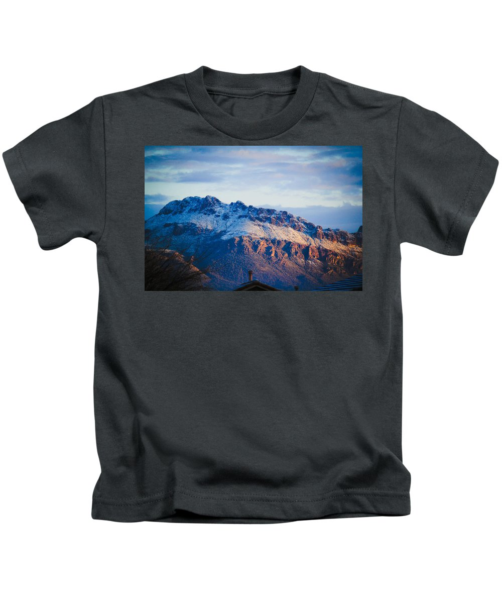 Kids T-Shirt featuring the photograph Tucson Mountains Snow by Kevin Mcenerney