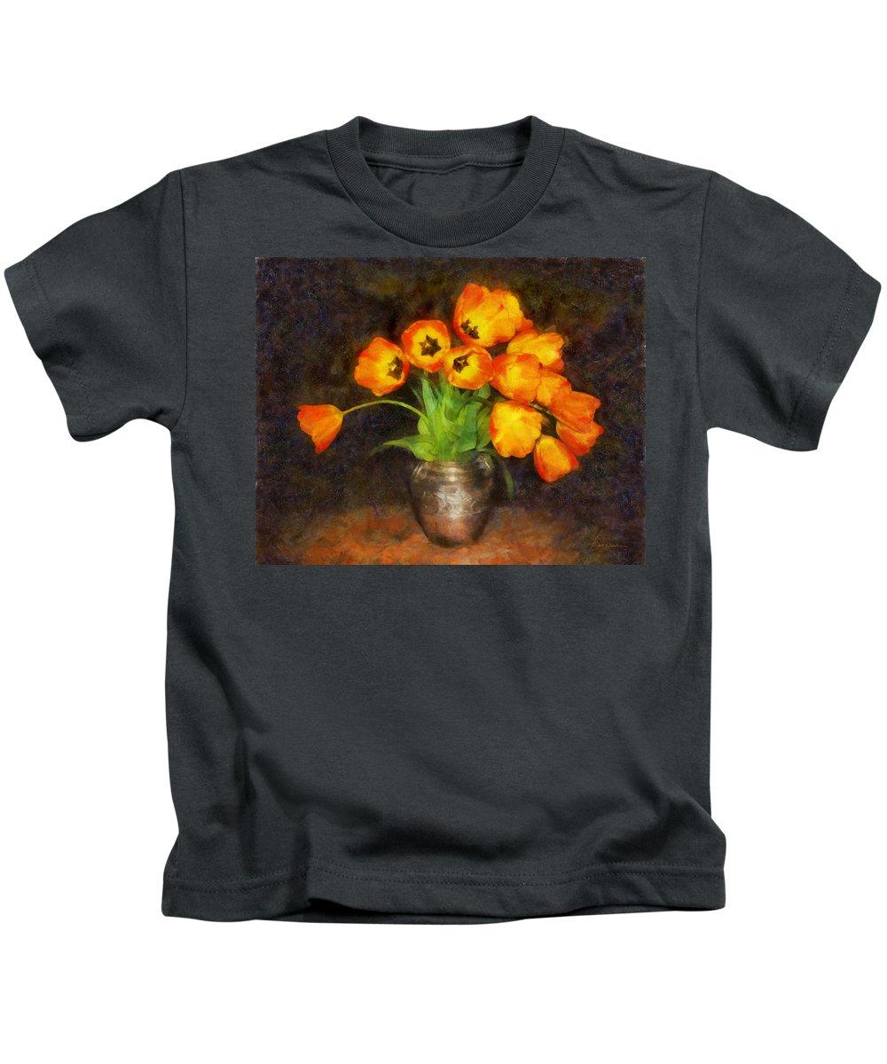 Tulips Kids T-Shirt featuring the digital art Tulip Bouquet by Francesa Miller
