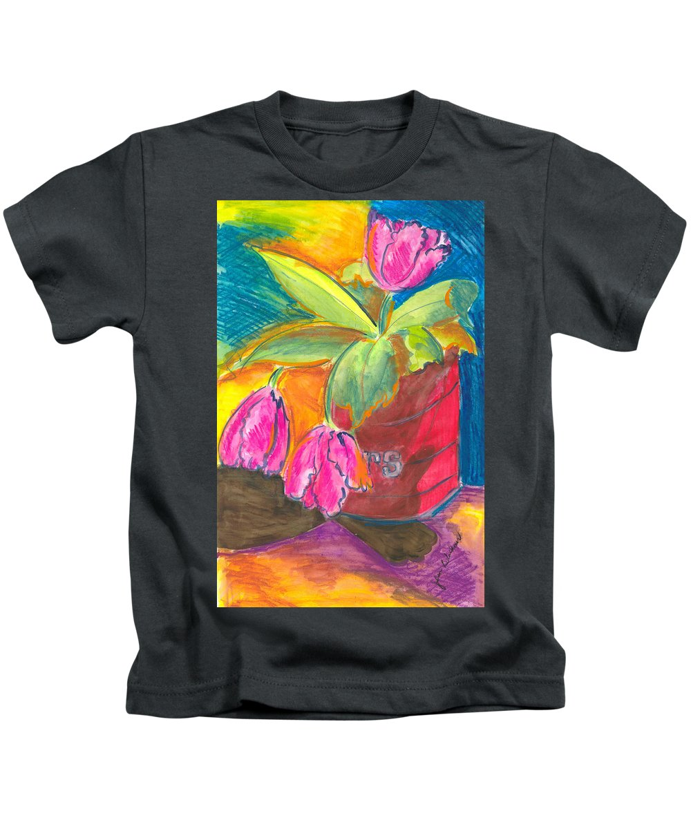 Flowers Kids T-Shirt featuring the painting Tulips In Can by Jean Blackmer
