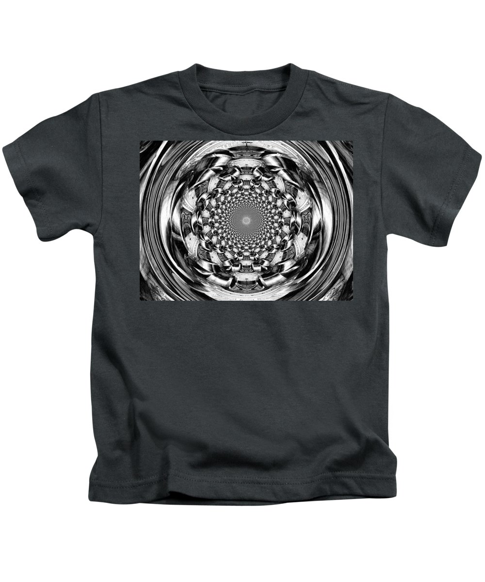 Swirl Kids T-Shirt featuring the digital art Tunnel Vision-black And White by Charleen Treasures