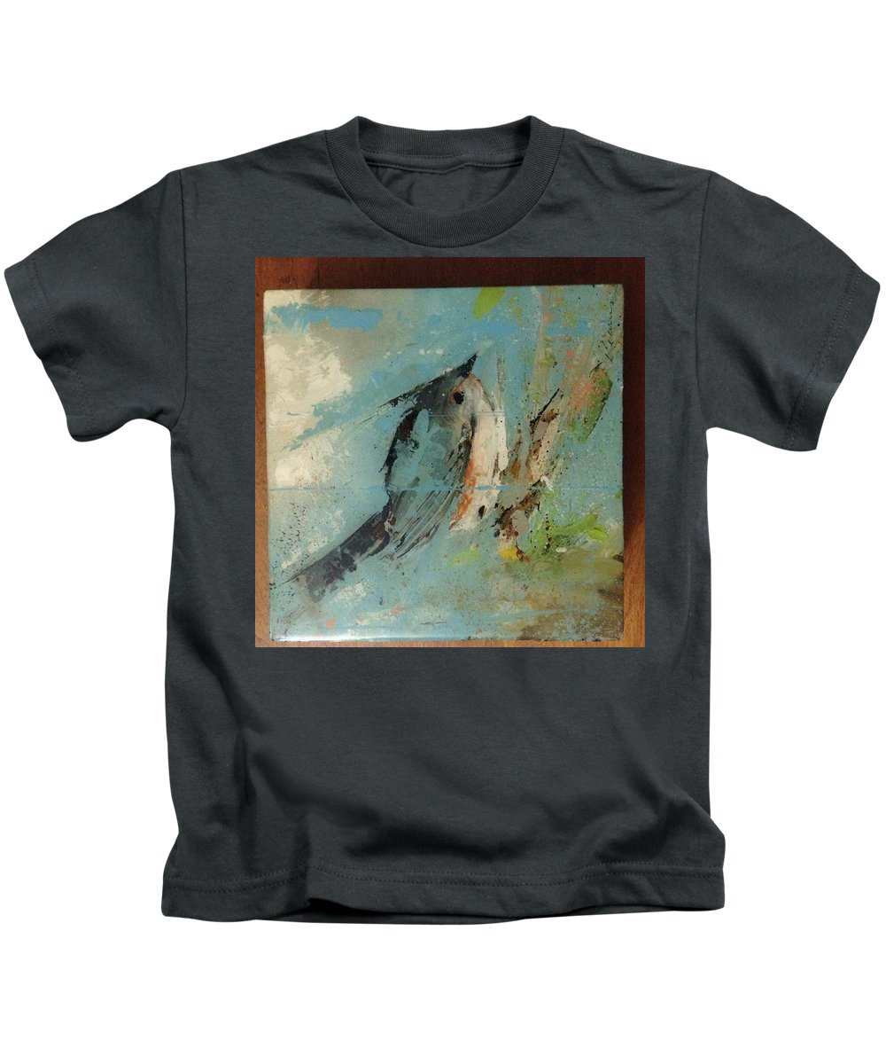 Wildlife Kids T-Shirt featuring the painting Tupen Tit Mouse by Kevin Kearns